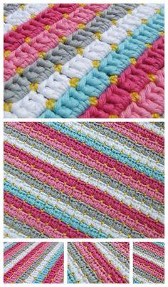 Crochet Knitting Handicraft: Simple and beautiful - bright plaid