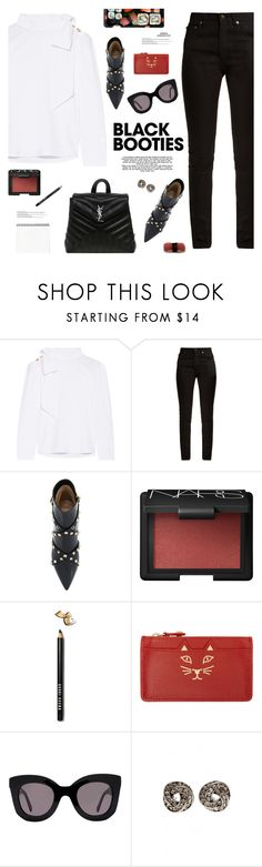 """Black Booties"" by mylkbar ❤ liked on Polyvore featuring Ulla Johnson, Yves Saint Laurent, Valentino, NARS Cosmetics, Bobbi Brown Cosmetics, Jura, Charlotte Olympia, CÉLINE and blackbooties"