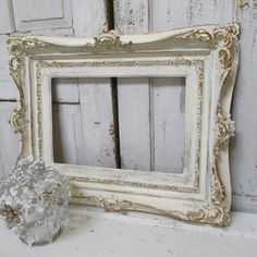 Large ivory ornate frame hand painted wood distressed shabby cottage wooden gold accented antique home decor anita spero