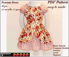 Free Printable Sewing Patterns | Alexandra Girls Dress Sewing Pattern, Peasant, Girls, Toddler,Easy Sew