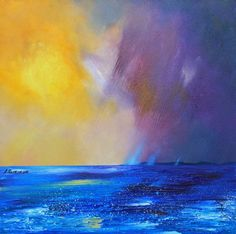 Contemporary Scottish landscape painting of Rising Storm Over Tiree, Scotland.