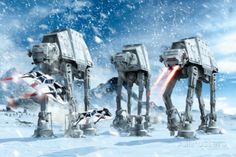STAR WARS : Costumes and Toys : Star Wars Poster Hoth Battle - 91 x 61 cm