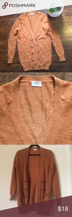 Madewell Wallace Cardigan Light and comfy Wallace Cardigan from Madewell. Two rows of buttons. Rust orange color (third pic is most accurate). Size xs but could fit a small. 19 inch bust, 29 inch length. Madewell Sweaters Cardigans