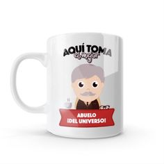Mug - Aquí toma el mejor abuelo del universo, encuentra este producto en nuestra tienda online y personalízalo con un nombre o mensaje. Snoopy, Mugs, Tableware, Fictional Characters, Grandparent, Store, Universe, Get Well Soon, Creativity