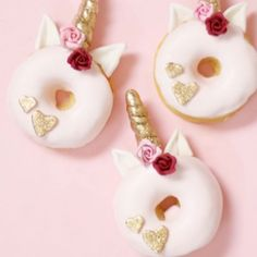 Valentine's Day ❤theme donicorns  video short  {hashtag #christinascupcakestutorials to see original unicorn donuts where I show also how to make the ears}