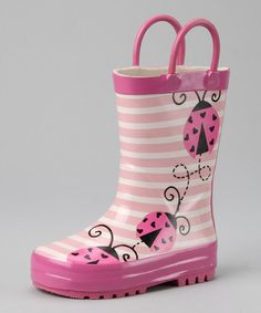 Take a look at this Pink Ladybug Rain Boot by Spring Showers: Kids' Rain Boots on #zulily today!