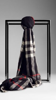 $395, Burberry Check Wool Cashmere Crinkled Scarf. Sold by Burberry. Click for more info: https://lookastic.com/women/shop_items/128060/redirect