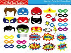 Superhero Photo Booth Props / DIY Printable Superhero Masks / Superhero Party…