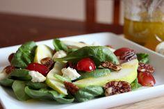 gingersnaps: pear, grape & blue salad with maple vinaigrette