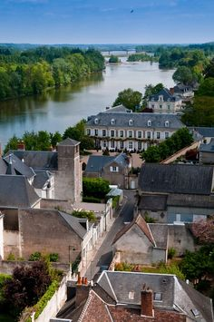Indre river view from the ramparts of Amboise Castle. UNESCO world heritage area. France