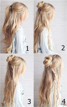 Bohemian or Hippie Style - Easy Braids for Long HairYou can find Bohemian hair and more on our website.Bohemian or Hippie Style - Easy Braids for Long Hair Open Hairstyles, Box Braids Hairstyles, Pretty Hairstyles, Bangs Hairstyle, Hairstyle Ideas, Wedding Hairstyles, School Hairstyles, Boho Hairstyles For Long Hair, Amazing Hairstyles