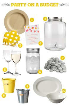 Party on a budget -  especially like the idea of white serving platters