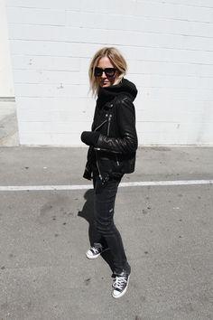 Nili Lotan leather jacket, Acne Studios hoodie, Ksubi jeans, Céline marta sunglasses & Chucks. Via Mija