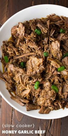 Slow Cooker Honey Garlic Beef, a simple slow cooker recipe that cooks for hours! Plus 3 recipes to use up your left-overs.used stewing beef instead of roast & tasted awesome Slow Cooking, Slow Cooked Meals, Crock Pot Slow Cooker, Slow Cooker Recipes, Crockpot Recipes, Cooking Recipes, Healthy Recipes, Freezer Meals, Healthy Foods