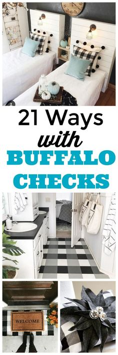 21 buffalo check decorating ideas to inspire your home decor with pillows, Christmas decorations, rugs, curtains, furniture and more! #plaid #buffalocheck #pillows #christmasdecor #rugs #holidays #flooring #decorating #decor