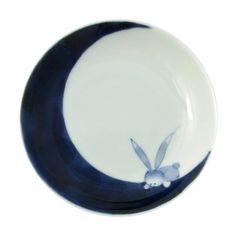 Mamezara Small Plate 10.5cm, Sometsuke Tsuki-usagi