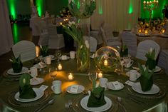White, green and gold. Our Wedding, Wedding Venues, Green And Gold, Table Settings, Table Decorations, Home Decor, Wedding Places, Homemade Home Decor, Table Top Decorations