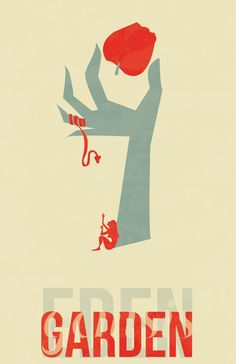 Saul Bass print. What a great interpretation of the garden of Eden! I love how the tree limbs and branches become arm and fingers, and how the snake/devil is wrapped around the tree fingers.