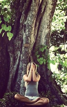 A Brief History Of Yoga. I just love this picture of the girl sitting next to the tree, being owana with nature!