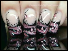 Nail art from the NAILS Magazine Nail Art Gallery, mixed media, sculptured acrylic nails, marbleized gel, Beautiful Nail Art, Gorgeous Nails, Pretty Nails, Beautiful Hands, Pink Black Nails, Purple Nails, Pink Nail, Fancy Nails, Bling Nails