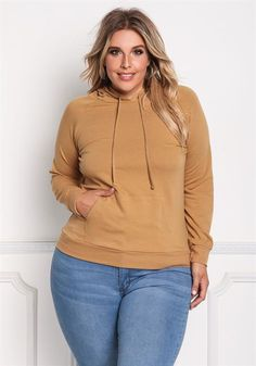 Plus Size Pocket Hooded Pullover Sweater