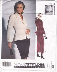 FREE US SHIP Vogue Attitudes 1048 Designer Myrene De Premonville Couture Suit Jacket Skirt Uncut Size 12 14 16 Bust 34 36 38 International by LanetzLiving on Etsy