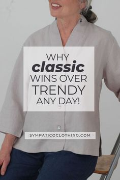 More and more shoppers are opting for more sustainable clothing and classic styles over trendy looks. See why on the Sympatico blog. Ethical Clothing, Ethical Fashion, Sustainable Clothing, Sustainable Design, Sustainable Living, Natural Fiber Clothing, Fashion Moda, Older Women, Classic Style