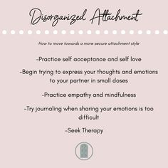 Those with Disorganized or Fearful-Avoidant Attachment Styles struggle with a unique dilemma of both wanting closeness in their relationships and being incredibly fearful of that intimacy. They often have low feelings of self worth and have tendencies of both anxious and avoidant attachment styles. Here are a few ways you can help work towards a more secure attachment style if you feel this resonates with you. Attachment Quotes, Attachment Theory, Mental Health Facts, Mental And Emotional Health, Relationship Therapy, Relationship Advice, Emotional Regulation, Family Therapy, Healthy Relationships