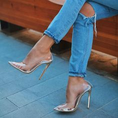 The Fancy Stiletto 👠 by a girls must have! I hate ripped jeans! Prom Heels, Pumps Heels, Stiletto Heels, Transparent Heels, Clear Shoes, Clear High Heels, Cinderella Shoes, Fashion Heels, Fashion Fashion