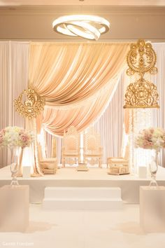 Don't go crazy looking at mandap designs all over the place. Stop, take a look at our Top 5 Mandap Design Ideas & get your Pitcure Perfect Wedding right! Mandap Design, Backdrop Design, Floral Backdrop, Indian Wedding Decorations, Reception Decorations, Event Decor, Table Decorations, Ganapati Decoration, Wedding Mandap