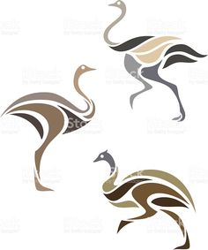 Stylized long-necked birds in three muted color schemes royalty-free stock vector art
