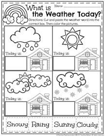 Weather unit for Preschool and Kindergarten. A page from