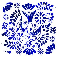 TALAVERA Pattern on Behance Pottery Painting Designs, Paint Designs, Motif Floral, Arte Floral, Mexican Pattern, Mexican Embroidery, Scandinavian Folk Art, Blue Pottery, Mexican Folk Art