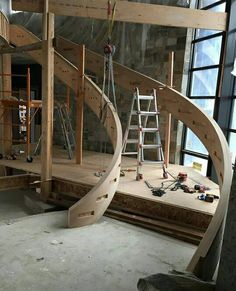 I call it: nude stair with ladder. Wooden Staircase Railing, Wooden Stairs, Modern Staircase, Grand Staircase, Spiral Staircase, Staircase Design, Interior Stairs, House Stairs, Stairways