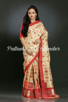 Online shopping from a great selection at Clothing & Accessories Store. Assam Silk Saree, Silk Sarees, Bengali Saree, Indian Sarees, Mekhela Chador, Indian Costumes, Marriage Dress, White Saree, Indian Blouse