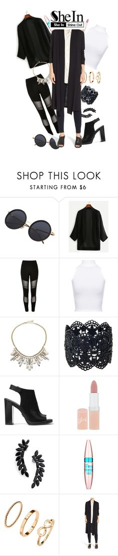 """""""Black Kimono Style"""" by lemonliz ❤ liked on Polyvore featuring River Island, WearAll, ABS by Allen Schwartz, Michael Kors, Rimmel, Cristabelle, Maybelline and Eileen Fisher"""