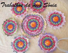 Trabalhos da vovó Sônia: Porta-copos mandala picô - croché
