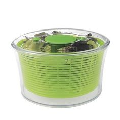 A one-hand salad spinner that'll keep washed greens fresh and crisp in your fridge for days. | 29 Products To Help You Cook At Home In 2017