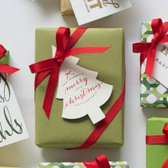 Haute Papier's personalized letterpress gift tags are the perfect finish to holiday trimmings.