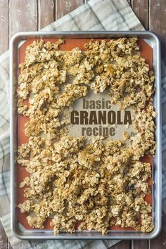 Granola Best ever basic granola recipe- this can be customized in a million different ways, but it's really amazing as-is too!Best ever basic granola recipe- this can be customized in a million different ways, but it's really amazing as-is too! Brunch Recipes, Gourmet Recipes, Baking Recipes, Dessert Recipes, Freezer Recipes, Drink Recipes, Cupcakes, Yummy Food, Tasty Snacks