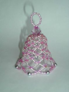 Special Order: Beaded Bell Ornaments in Aurora Borealis Beaded Christmas Decorations, Beaded Christmas Ornaments, Christmas Jewelry, Christmas Bells, Christmas Items, Handmade Christmas, Beaded Crafts, Jewelry Crafts, Beaded Banners