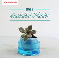 Give that empty container a second life—and reduce waste in landfills—by reusing it as a planter for succulents. For glass recycling facts, recycle tips and more, visit caretorecycle.com! #CARETORECYCLE