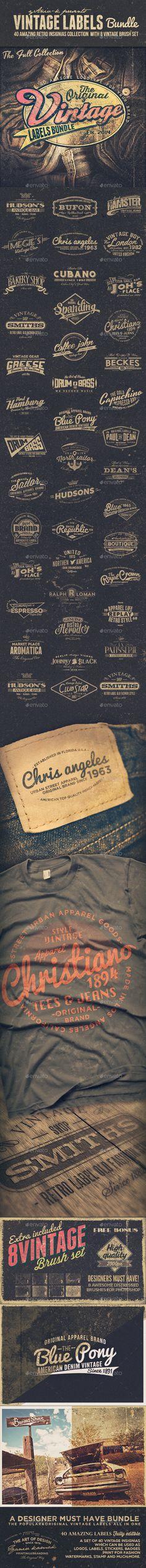 40 Vintage Labels Insignias Logos Bundle - Badges & Stickers Web Elements