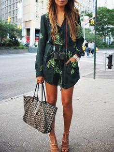 Kleid Langarm mit Blumenmuster und Taschen-dunkel grün