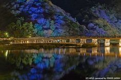 """Often used in movies and TV dramas, the Togetsukyo Bridge is the symbol of Arashiyama, Kyoto. Every December it is lit up in an event called """"Kyoto Aashiyama Hanatoro."""""""