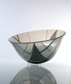 Charcoal and Tan Fine Line Bowl by Bob Leatherbarrow