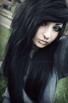 Black Hair, Piercings, Eyeshadow, Love it! Emo Makeup, Hair Makeup, Cute Emo Girls, Goth Girls, Emo Scene Hair, Goth Hair, Piercings, Pretty Hairstyles, Emo Hairstyles