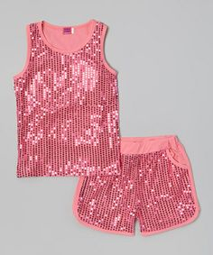 Pink Sequin Tank & Shorts #zulily #ad *Ha. My girls would love this for dance...