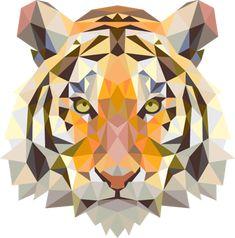 Geometric Tiger Head Decal - TenStickers