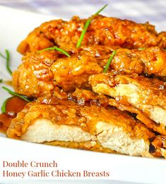 Double Crunch Honey Garlic Chicken Breasts - still the NUMBER 1 recipe from the past 10 years on Rock Recipes. Millions of views online.and for good reason. The best honey garlic chicken ever! Honey Garlic Pork Chops, Honey Garlic Sauce, Honey Garlic Chicken, Oven Chicken, Chicken Recipes With Sauce, Chicken Breats Recipes, Chicken Recipes For One, Crispy Honey Chicken, Sesame Chicken